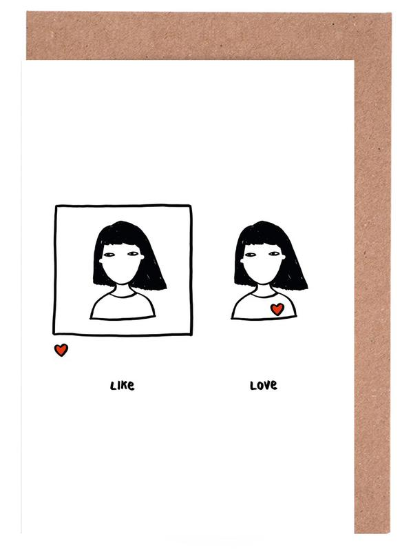 Like vs Love Greeting Card Set