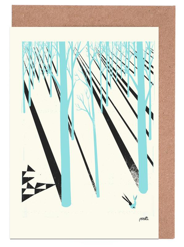 Forests, Retro, Forest 1b Greeting Card Set