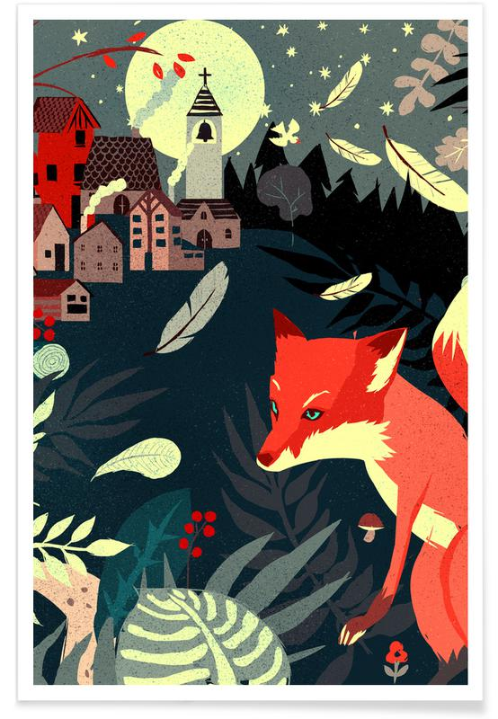 Foxes, Nursery & Art for Kids, Fox And The Village Poster