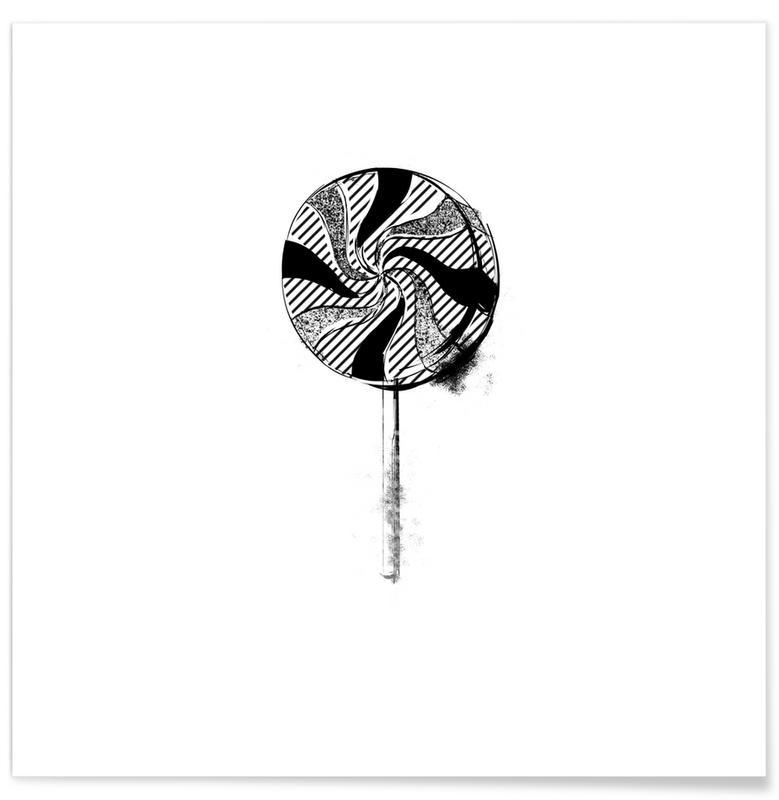 Sort & hvidt, Slikkepinde, Lollipop Plakat
