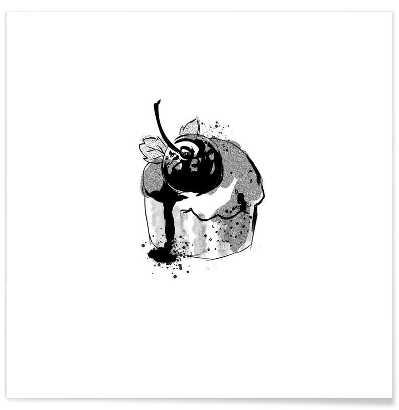 Schwarz & Weiß, Kuchen, Cherry Cake -Poster