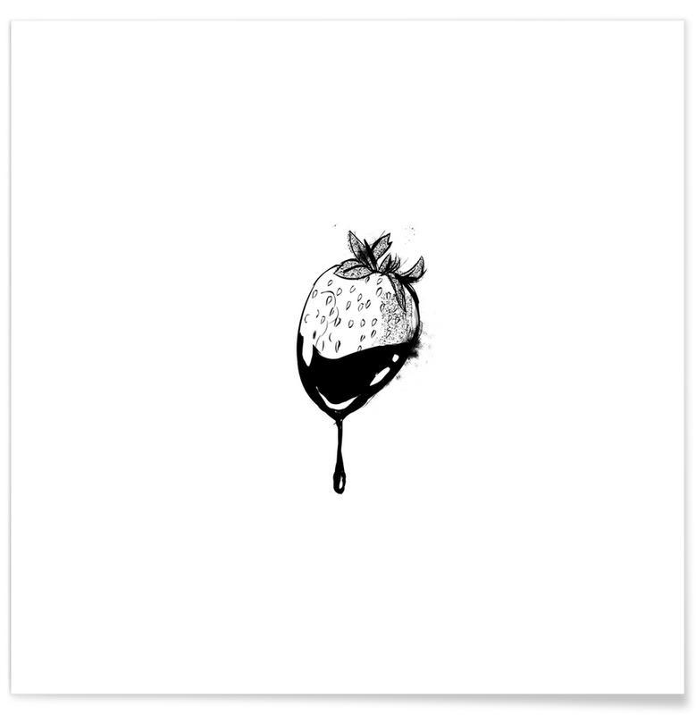 Sort & hvidt, Jordbær, Strawberry Plakat