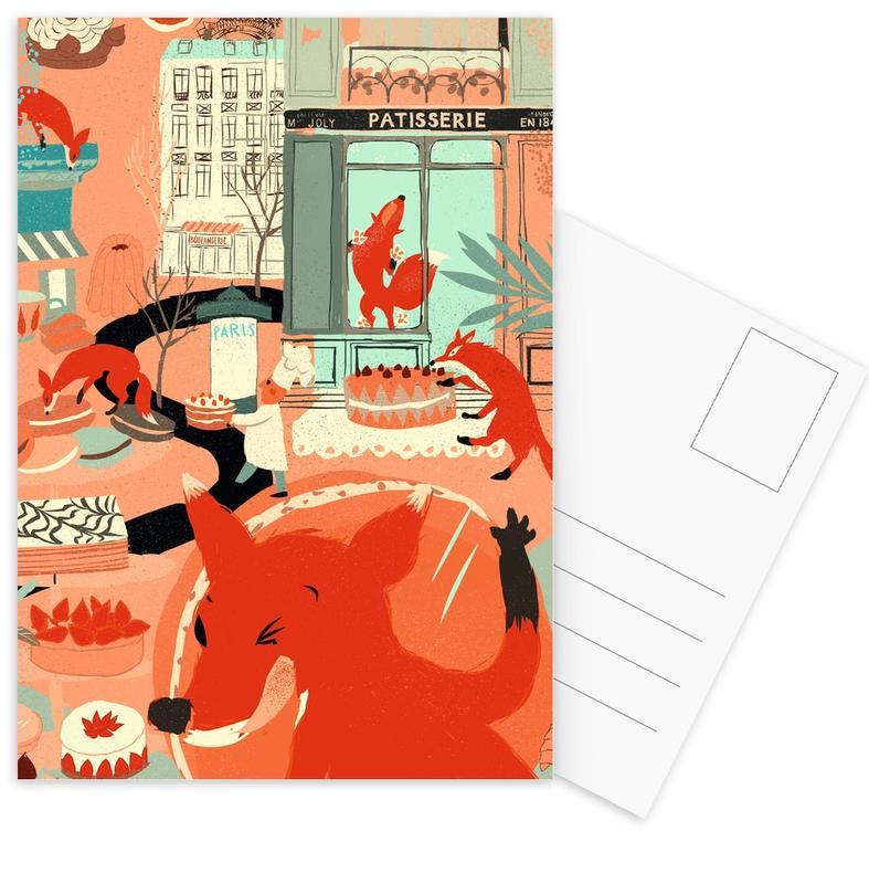 Foxes, Foxy Macaron Eaters Postcard Set