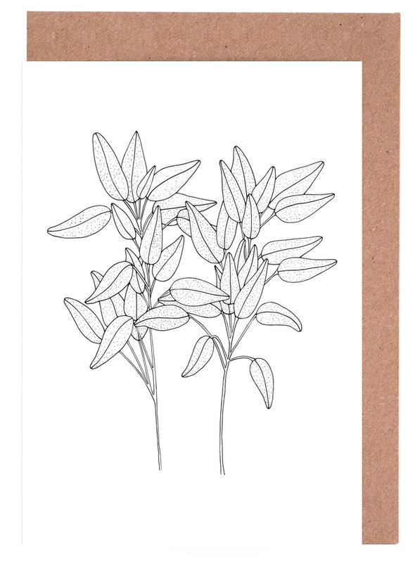 Schwarz & Weiß, Blätter & Pflanzen, Salbei -Grußkarten-Set