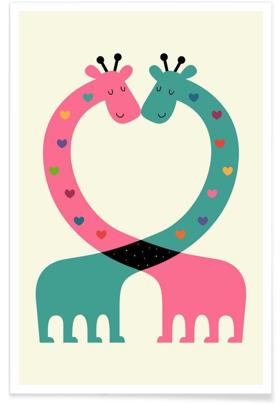 Girafes, Art pour enfants, Couples, Love With Heart affiche