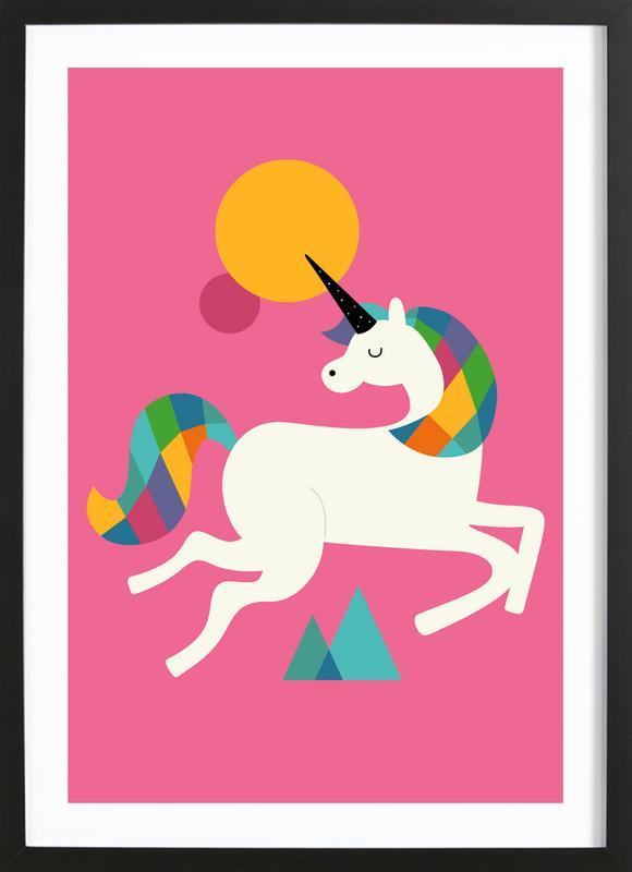 To Be A Unicorn -Bild mit Holzrahmen