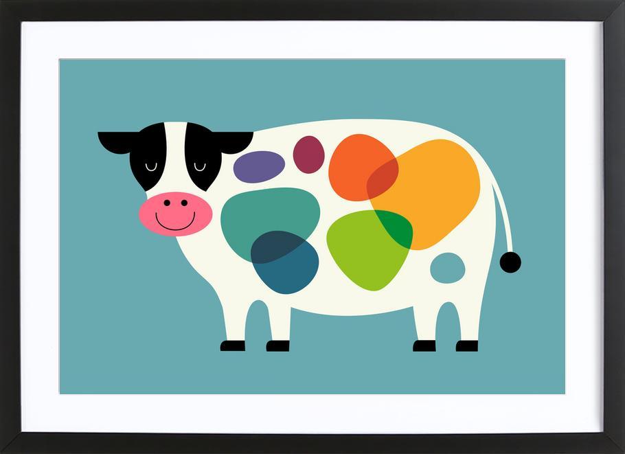 Awesome Cow -Bild mit Holzrahmen