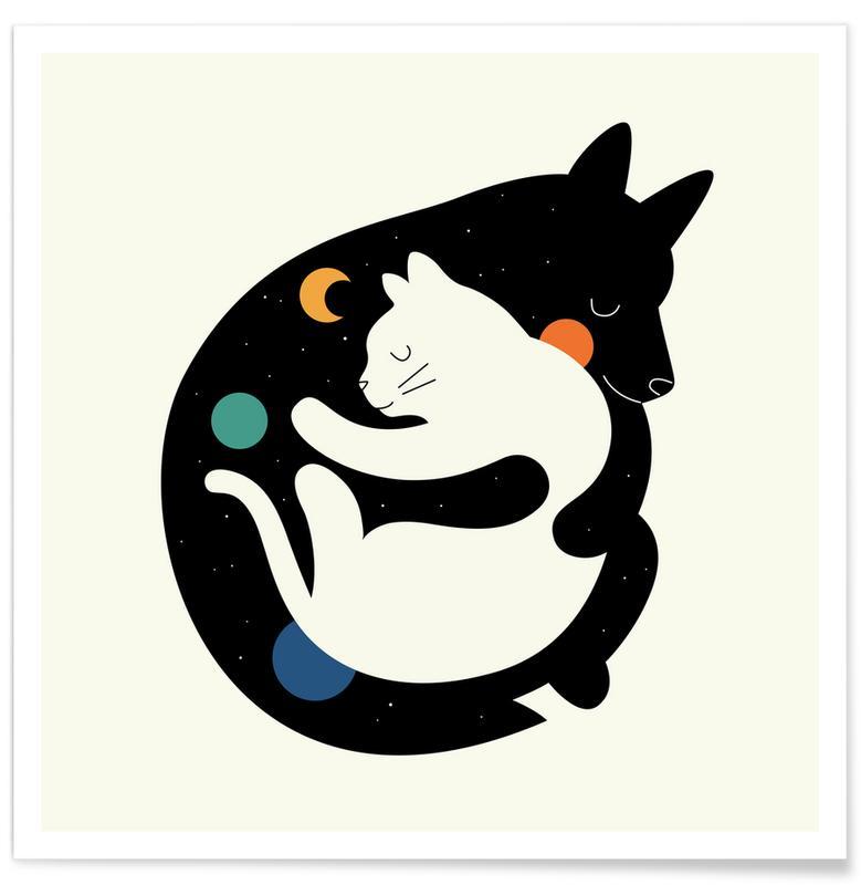 Art pour enfants, Chiens, Chats, More Hugs Less Fights affiche