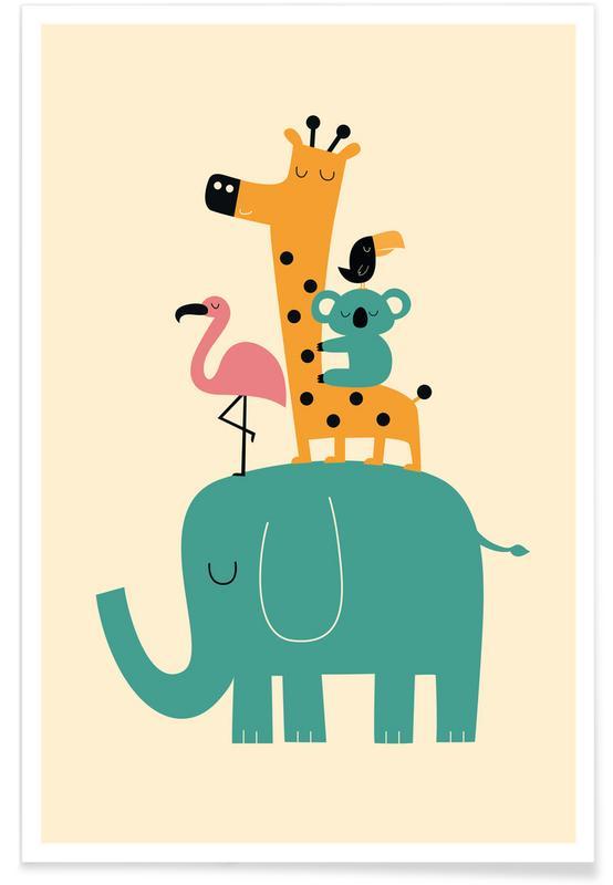Art pour enfants, Illustration d'animaux adorables affiche