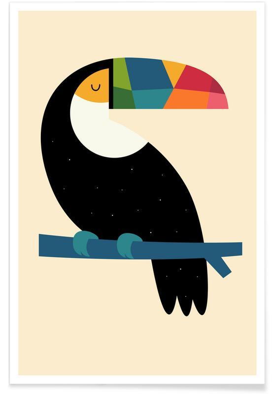 Børneværelse & kunst for børn, Toucans, Rainbow Toucan Plakat