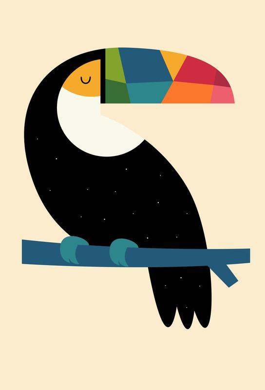 Rainbow Toucan -Acrylglasbild