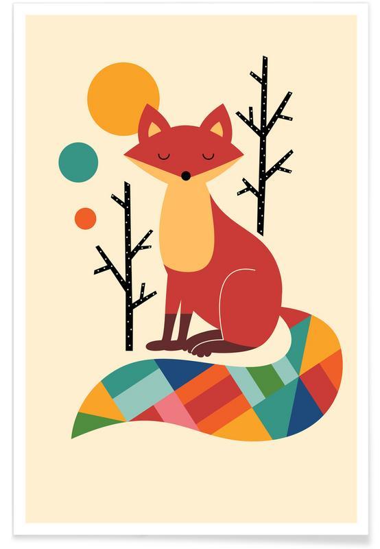 Renards, Art pour enfants, Rainbow Fox affiche