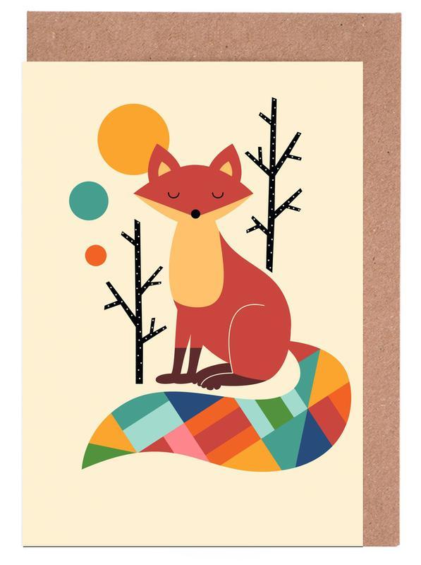 Foxes, Nursery & Art for Kids, Rainbow Fox Greeting Card Set