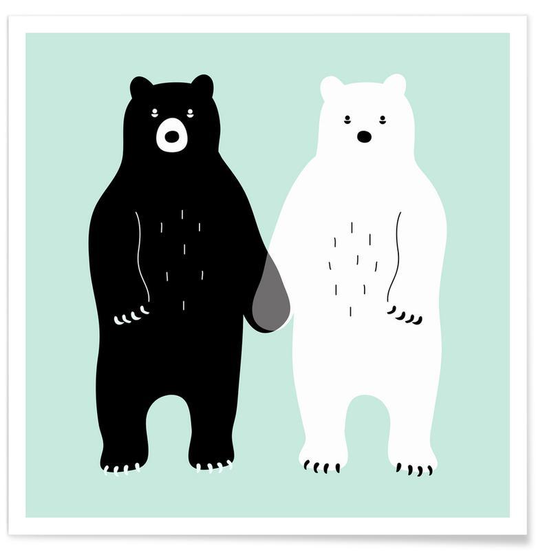 Ours, Art pour enfants, Two Bears affiche