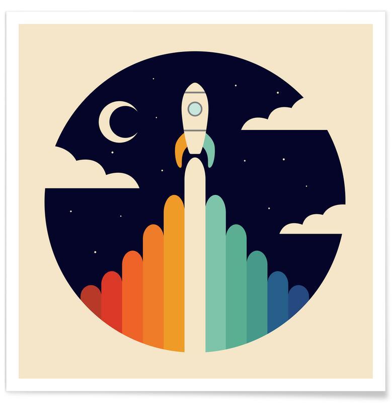 Børneværelse & kunst for børn, Rumskibe & raketter, Up Plakat