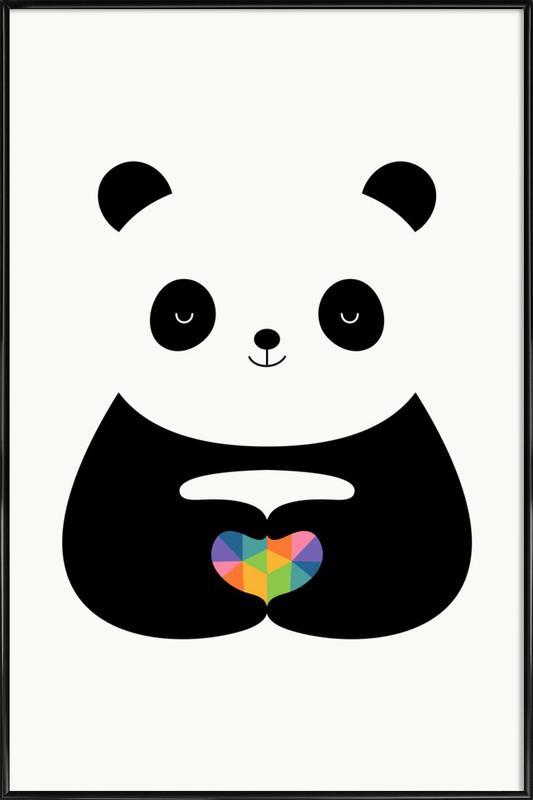 Panda Love -Bild mit Kunststoffrahmen
