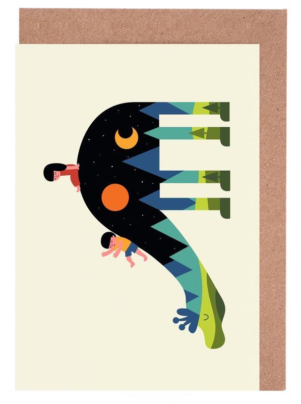 Geburt & Baby, Dinosaurier, Kinderzimmer & Kunst für Kinder, Up and Down -Grußkarten-Set