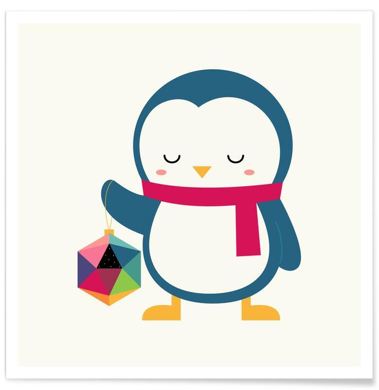 Art pour enfants, Noël, Pingouins, Joy to the Universe affiche