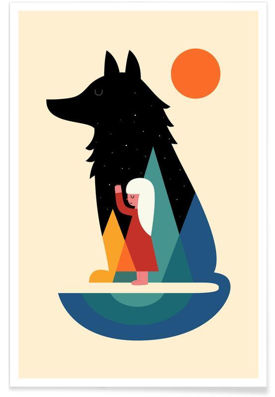 Art pour enfants, Loups, Best Friend affiche
