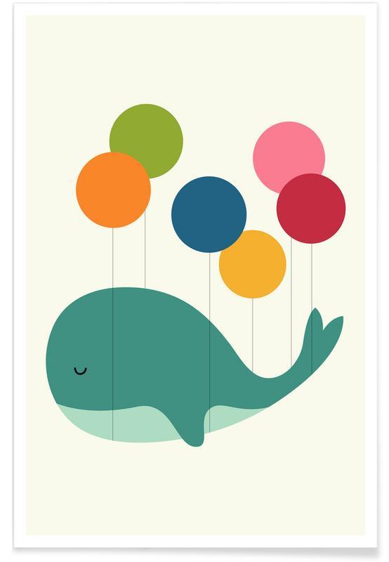 Art pour enfants, Baleines, Illustration de baleine avec ballons adorable affiche