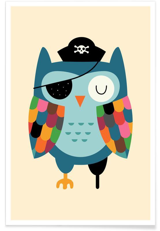 Chouettes, Art pour enfants, Captain Whooo affiche