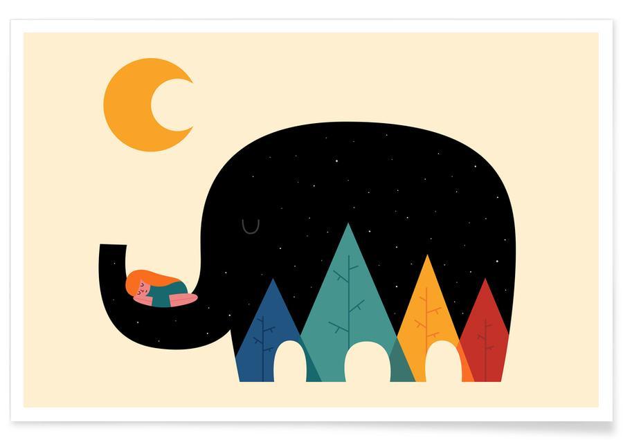 Kinderzimmer & Kunst für Kinder, Elefanten, Dream in the Air -Poster