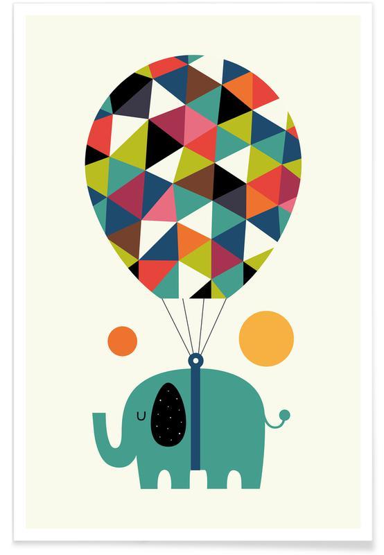 Børneværelse & kunst for børn, Elefanter, Fly High and Dream Big Plakat