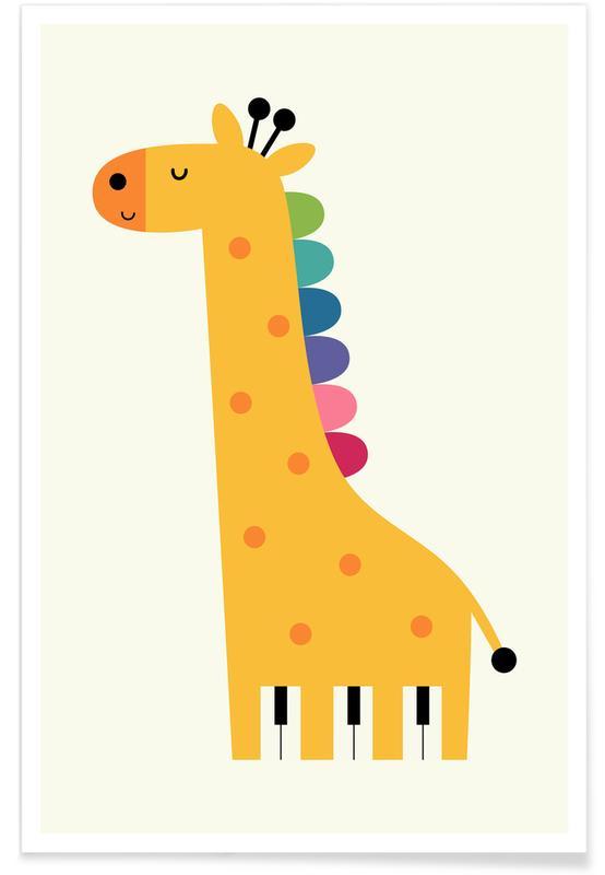 Nursery & Art for Kids, Giraffes, Giraffe Piano Poster