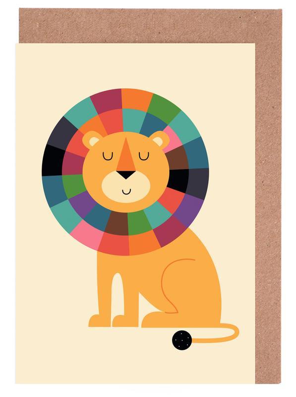Kinderzimmer & Kunst für Kinder, Löwen, Mr Confidence -Grußkarten-Set