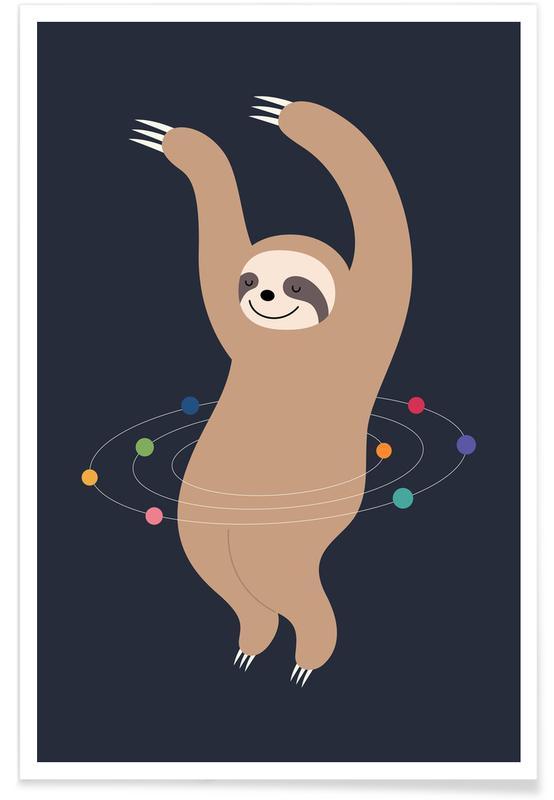 Paresseux, Art pour enfants, Sloth Galaxy affiche