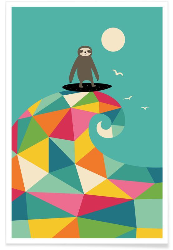 Dovendyr, Børneværelse & kunst for børn, Surf Up Plakat