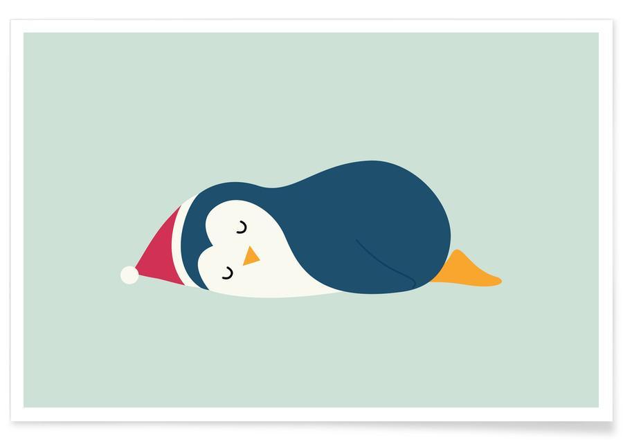Art pour enfants, Noël, Pingouins, Lazy Holiday affiche