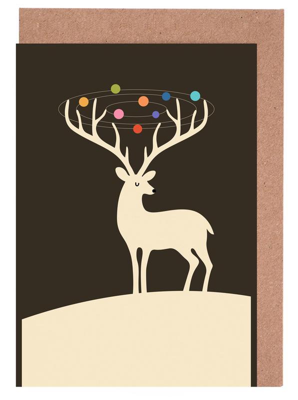 Hirsche, Weihnachten, Kinderzimmer & Kunst für Kinder, My Deer Universe -Grußkarten-Set