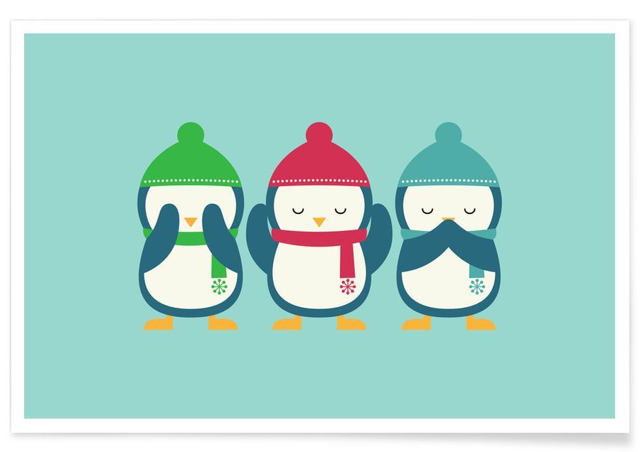 Art pour enfants, Noël, Pingouins, No Evil In Holiday affiche