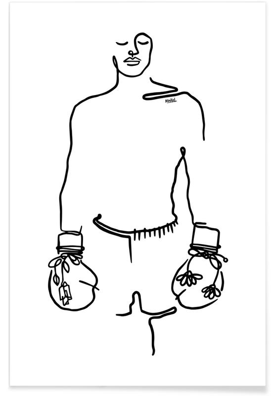 Sort & hvidt, Muhammad Ali, Love Fighter Plakat