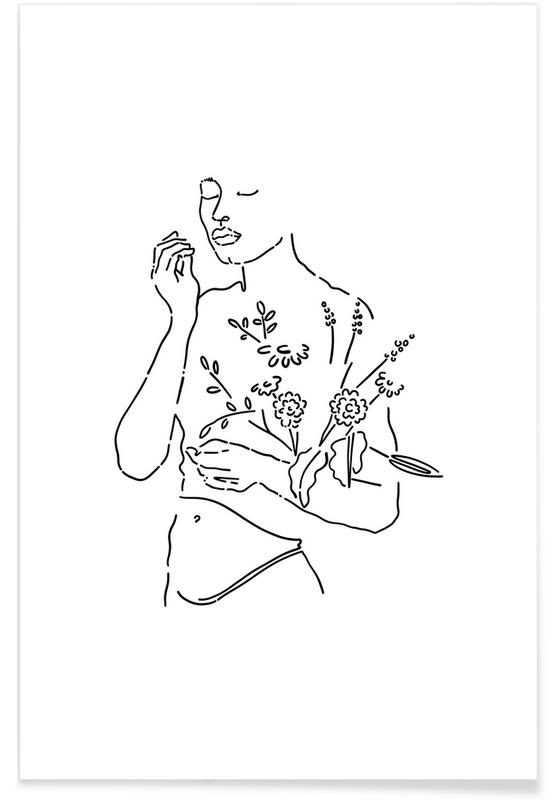 Portraits, Girl And Flowers affiche