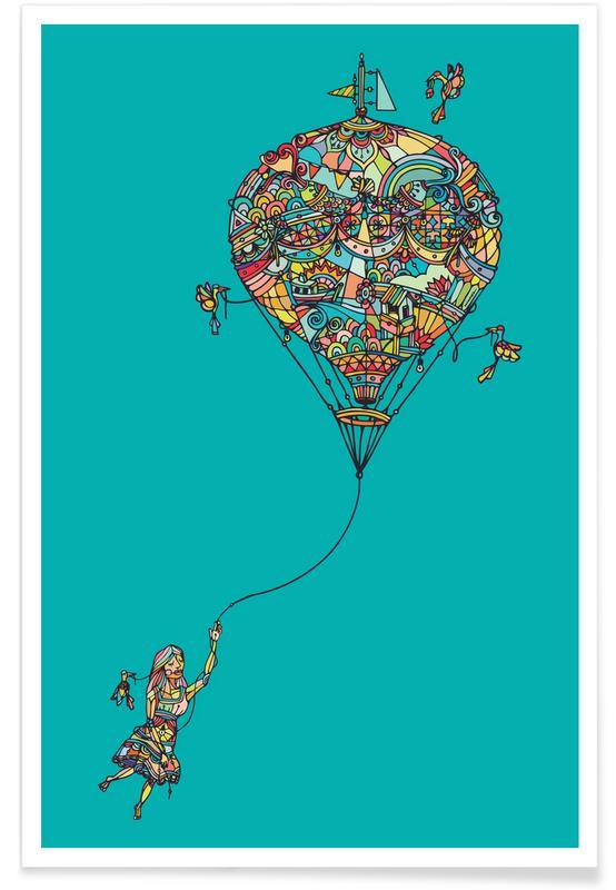 Barnkammar & konst för barn, Balloon Girl Poster
