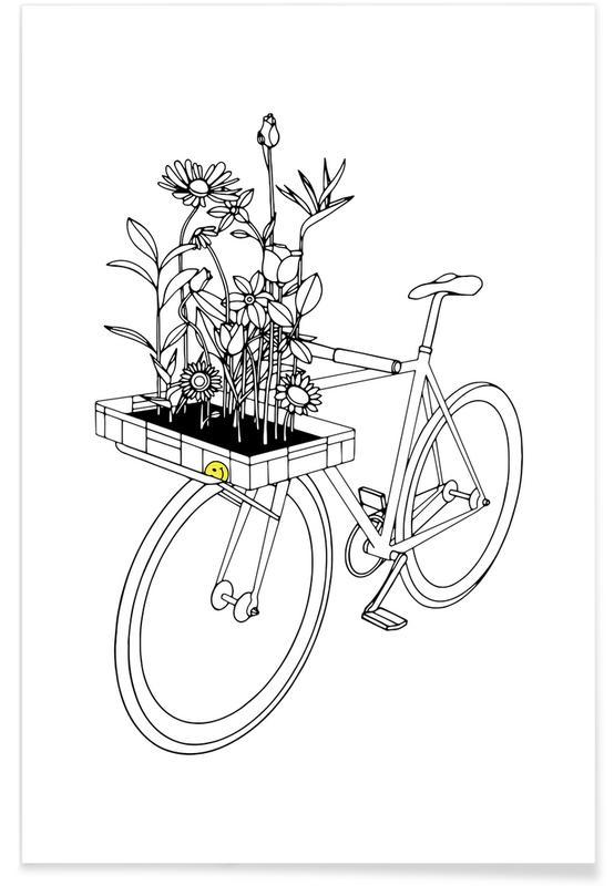 Noir & blanc, Vélos, Wherever Flowers Go affiche