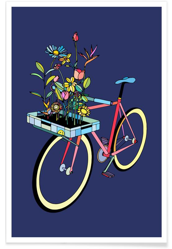 Vélos, Bike and Flowers affiche