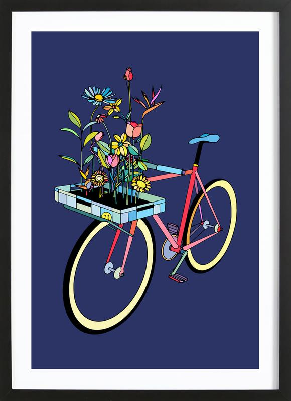 Bike and Flowers -Bild mit Holzrahmen