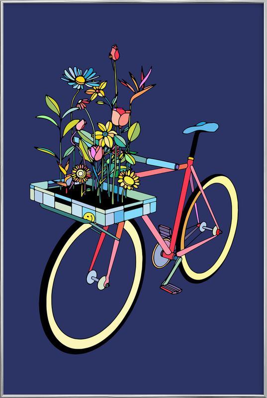 Bike and Flowers affiche sous cadre en aluminium