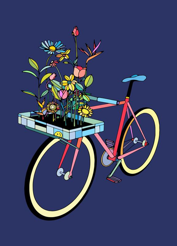 Bike and Flowers canvas doek