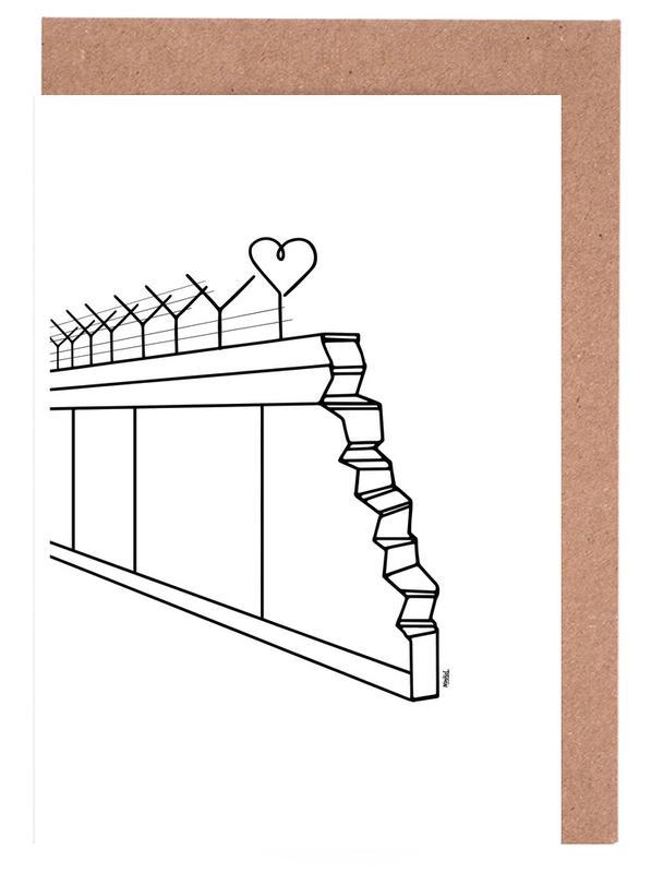 Berlin, Black & White, Heart Wall Greeting Card Set
