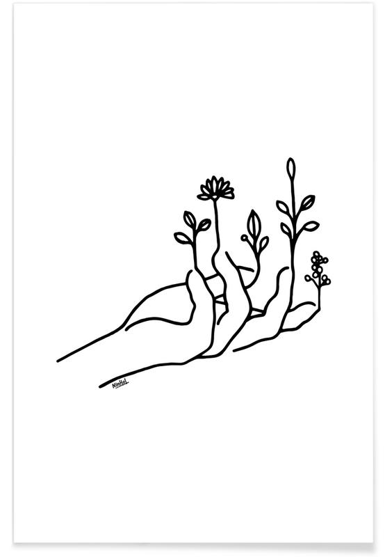Schwarz & Weiß, Körperformen, Bloom Hand -Poster