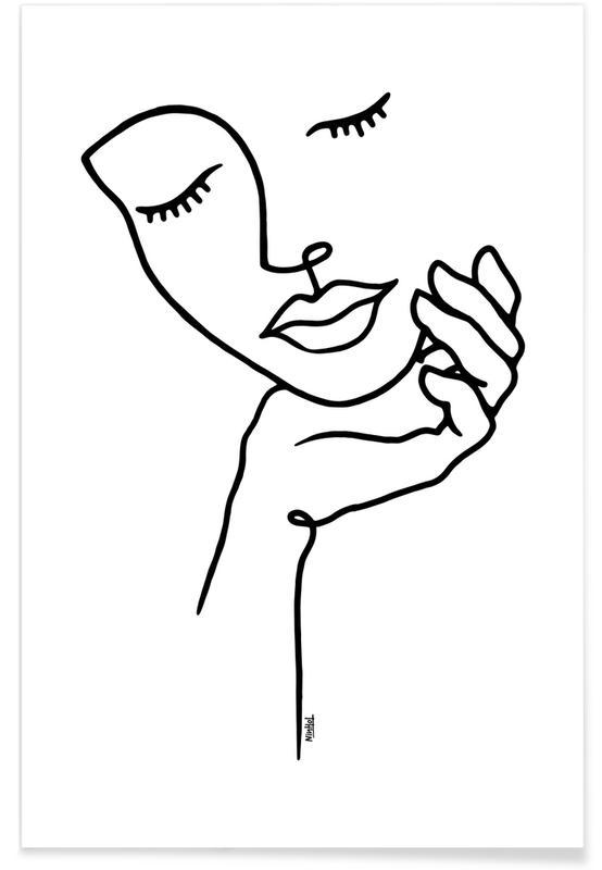 Girl Holding Her Face -Poster