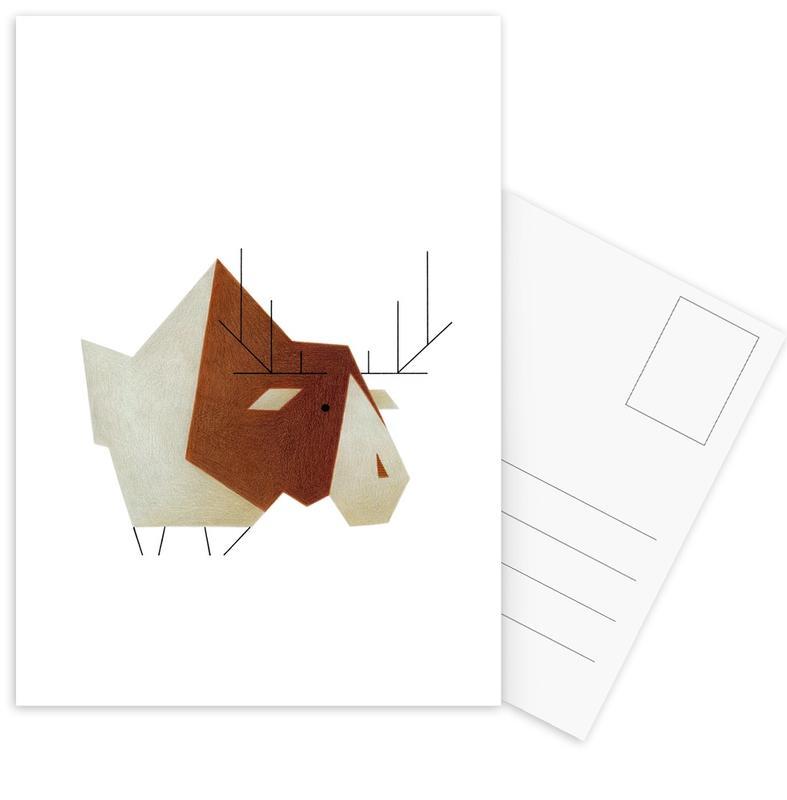 Cerfs, Art pour enfants, Elch #1 cartes postales