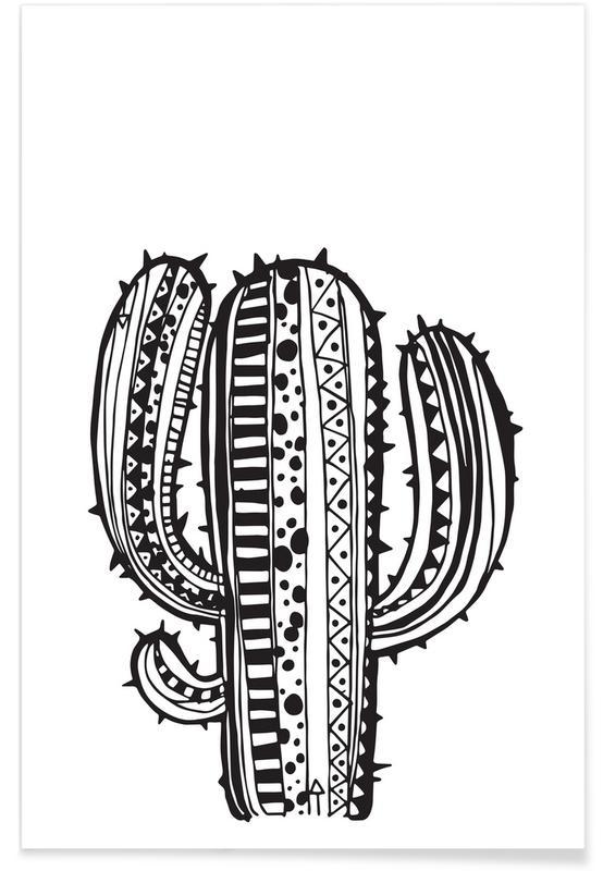 Schwarz & Weiß, Kaktus, Kaktus -Poster