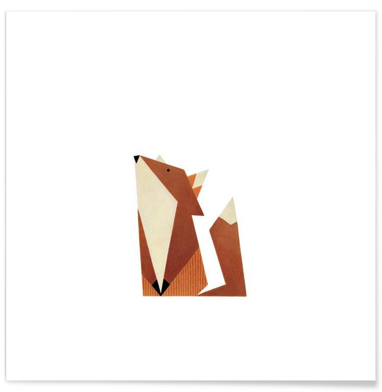 Renards, Art pour enfants, Fuchs #1 affiche