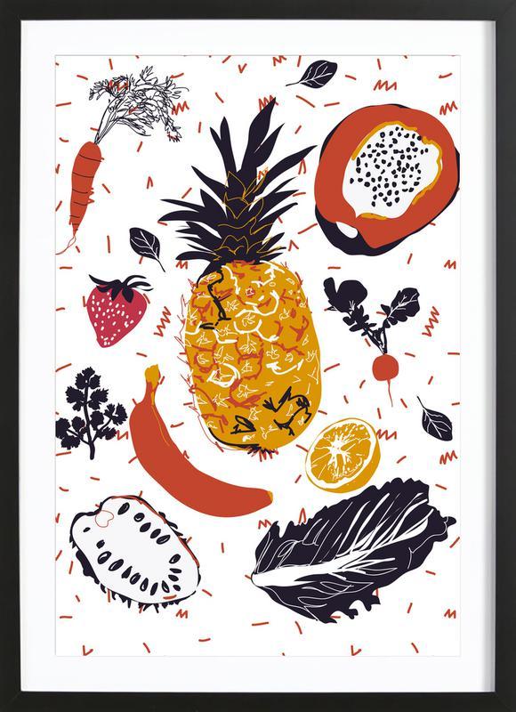 Fruit Veggie Party -Bild mit Holzrahmen