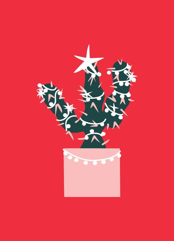 Christmas Cactus 2 -Leinwandbild